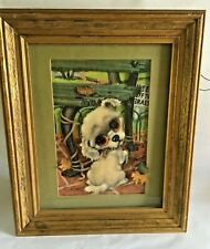 RARE 3D Version mod GIG Pity Puppy Vintage 1960s Framed Art Girard Goodenow Gia