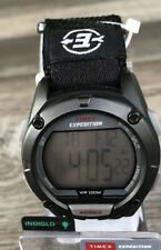 Mens Timex Expedition~Digital Watch~Indiglo~Black Nylon Strap Band~T49949~New!