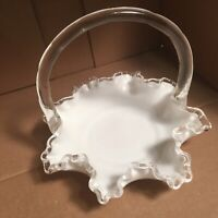 Vintage Fenton Silver Crest Milk Glass Basket Ruffled Edges Handle FREE SHIPPING