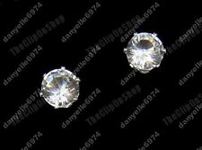 CLIP ON magnetic CUBIC ZIRCONIA 6mm DIAMANTE EARRINGS