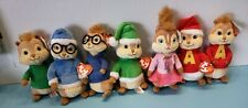 (7) Ty Plush Beanie Babies Alvin and the Chipmunks Lot. Christmas - Squeakquel