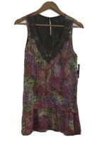 NWT New Directions Women's Size M Boho Flowy Tunic Multicolor Sleeveless Top