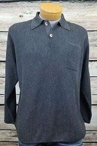 JOHNNIE WALKER Alpaca Long Sleeve Pullover 2 Button Sweater Shirt Mens Size M
