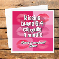 Personalised Valentines Day Card Kissing Burns Calories Workout Exercise Snog