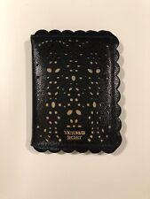 Victoria's Secret Passport Case Holder Black Scallop Laser Cut Authentic NWT