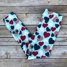 Red White & Blue Americana Girl's Toddler Leggings S/M Size 3-5 soft as LLR