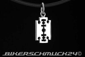 Kleine Gothic Schmuck Rasierklinge Razor Blade Anhänger 925 Silber Lederriemen