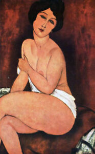 "Large Seated Nude by Amedeo Modigliani, Oil Painting Art Reproduction, 20"" x 32"""