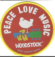 WOODSTOCK peace love music - 2017 circular WOVEN SEW ON PATCH official merch