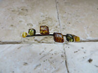 Genuine Baltic Amber Bangle in solid 925 Sterling Silver #0002