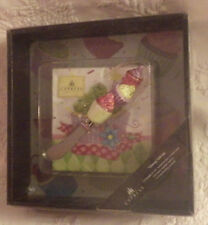 "Cypress Home Cupcake Cheesy Gift Set 8""x8"" Glass Saver 20 Napkins 1 Spreader New"