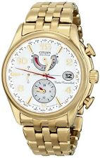 Citizen World Time A-T Eco-Drive Gold-Tone Perpetual Calendar Watch FC0002-53A