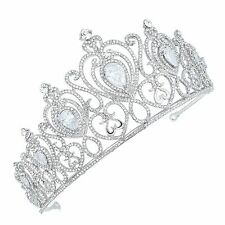 TQF26 Clear Crystal Prong Set CZ Alloy Holy White Tiara Princess Wedding Crown