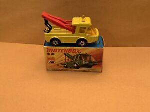 Matchbox Superfast No. 74 Toe Joe Yellow Body, Red Jibs, Black Hooks With Box