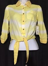 Arizona Womans Girls Size X-S Yellow White Sheer Button Down 3/4 Sleeve Blouse