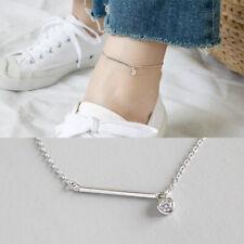 Fußkettchen Stäbchen Zirkonia Anhänger echt Sterling Silber 925 Damen Fußkette