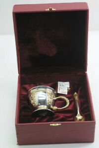 RUSSIAN .925 STERLING TEA CUP WITH PURPLE STONES MARKINGS (7??? OR 7 (NJL018503)