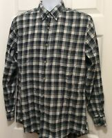 Southern Tide Men's Shirt M Green Blue White Red Plaid Button Front Long Sleeve