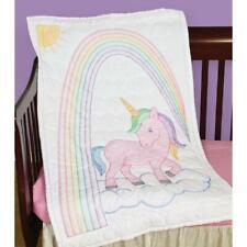 JACK DEMPSEY NEEDLEART Crib Quilt Top Embroidery Cross Stitch UNICORN
