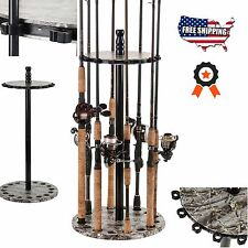 Organized Fishing Round Floor Rod Rack Camo Storage Holds Up to 15 Fishing Rods