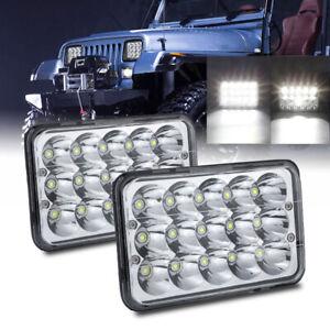2Pc 4x6 Inch LED Headlights Sealed Beam HI/LO White 6000K For  Pickup JEEP Truck