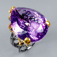 Vintage30ct+ Natural Amethyst 925 Sterling Silver Ring Size 8/R124909