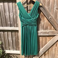 John Lewis Emerald Green Satin Franchesca Prom Midi Dress Size 8 VGC
