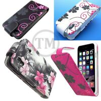 Floral Flower Butterfly Pattern Flip Leather case cover pouch for Various Makes