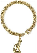 Cat Bracelet 24k Gold-plate 3 Dimensional Cat Charm with Nice Link Bracelet