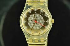 COOL LADIES SWATCH WATCH SNOWFLAKE DIAL WITH ORIGINAL TWO TONE BAND KEEPING TIME