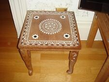Inlaid Wooden Side Occasional Table Vintage Handcrafted India Vine Pattern