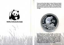 20 Dalasis 1989 SEHR SELTEN Gambia Rotstummelaffe Affe WWF Silber PP KI19104
