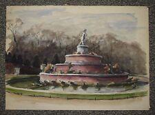 Paris parc de Versailles la fontaine Latone, 1948, aquarelle de Christian Frain