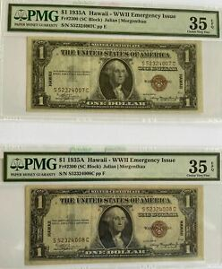 Set of 2 Consecutive Serial #, US 1$ 1935A Hawaii - WWII, FR# 2300, PMG 35