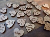 Wooden Wedding Table Confetti Decorations: Love Hearts with Mixed Wording