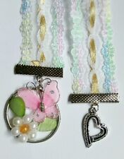 1 pastel lace Ribbon pink butterfly flower and heart hand beaded Bookmark (T4)