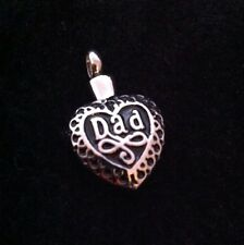 Stunning Heart Cremation Pendant Ashes Father Dad keepsake 'Dad' Memorial