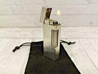 Very Nice Rollagas Gas Lighter Silver Plated With Pouch Fully Overhauled