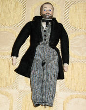 Vintage Dollhouse Bisque Porcelain Doll Man Mustache Beard NEW FINE COLLECTIBLE