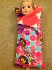 "Wellie Wishers American Girl 14"" doll Clothes Dora Explorer Sleeping Bag/Pillow"