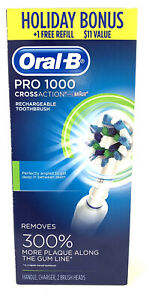 Oral-B White 1000 Pro CrossAction Rechargeable Toothbrush W 2 Brush Heads