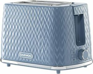 Daewoo Argyle Patterned 2 Slice Toaster Crumb Tray Defrost Reheat Function Blue