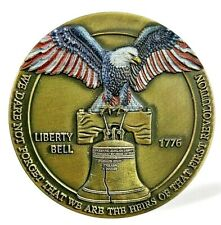 LIBERTY Bell Bronze Coin Eagle Stars & Stripes Revolution Patriotic Old USA 1776