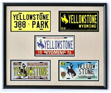 Yellowstone National Park Wyoming License Plate Framed & Matted Wall Art Display