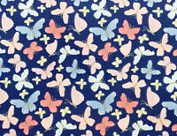 """Sally Navy Blue Polycotton 65//35 Snowman Christmas 45/"""" By Th Metre FREE DELIVERY"""