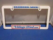 VILLAGE FORD Dealer License Plate Frame Plastic Man Cave WHITE