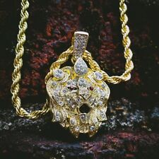 """5mm 30"""" Rope Chain Fashion Bling Necklace Hip Hop Iced Lion Head Large Pendant &"""