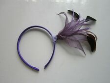 FASCINATOR | Purple | Sinamay | Feathers | Hairband | Wedding Prom Races (58A)
