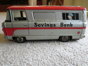 Vintage 1960's Friction Armoured Car/Savings Bank with Working Bell Alarm -Rare