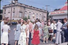 Big Crowd Outside KFC Kentucky Fried Chicken Restaurant Vtg 1976 Slide Photo